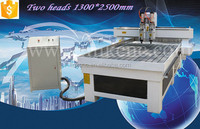 CNC 1300mm*2500mm furniture design wood cnc router with two heads