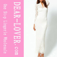 White Lace Long Sleeves Maxi Dress For Girl Party