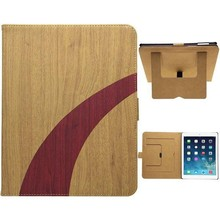 Fashion Wood Texture Leather case for ipad 2 with holder