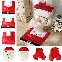 2015 Santa Toilet Seat Cover and Rug Bathroom Set Christmas Decoration