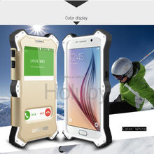 LOVE MEI Case for Samsung Galaxy S6 G9200, Double Window View Leather+ Metal+ Shockproof Silicone Case for Samsung S6