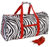 Zebra Stripe Polyester Nylon Travel Gym Bag Athletic Sport Shoulder Bag for Men & Women Large Duffel Bag PP Webbing Handles