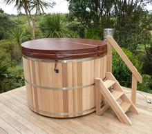barril de madera tina de agua caliente