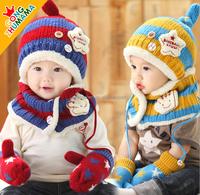 New Wool Korean Cute Stretchy Warm Winter Five-pointed Star Baby Kids Children Hat Cap Beanie Collar Cap