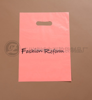 Guangdong manufacturer customized prints pink colorful die cut plastic shopping bag