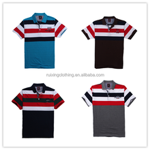 2015 man polo t shirt cheap OEM man printing strip young stylish