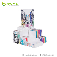 Cosmetics product pop display stand made with corrugated cardboard
