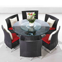 new style black rattan dining round table and chair set