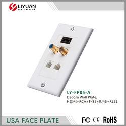 LY-FP85-A Decora Wall Plate HDMI+RCA+F-81+RJ45+RJ11 FACEPLATE