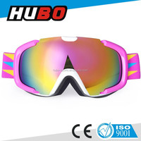 Ladies hot sale pink TPU frame replaceable dual lens top quality snow goggles