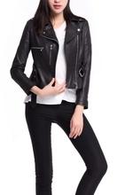 Ladies genuine leather belted motorcycle jacket ladies leather coat motorcycle clothing women