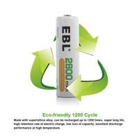 EBL 4 Pack High Capacity 2800mAh AA Ni-MH Rechargeable Batterie, 1500 Cycle