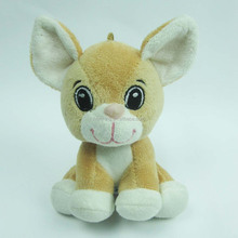 14cm promotion gift soft plush sitting dog with big embroidery eyes for hanging