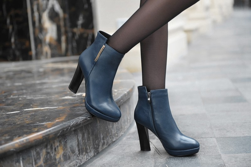 Soft Genuine Leather Ankle Boots Black Blue Size 8 Sexy Fashion High