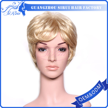 Sirui Factory Hot Sale Women Full Lace Wig Blond Color Real Hair Wig with Bangs