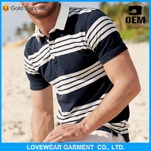 Cheap high quality blue and white stripes colors 100% pima cotton polo t shirts manufacture