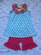 polka dots tops and ruffle shorts set 100% cotton children clothing baby clothes toddler boutique outfits