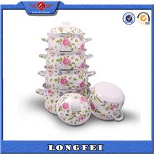 high quality 5pcs full flower decal enamel cookware pot set