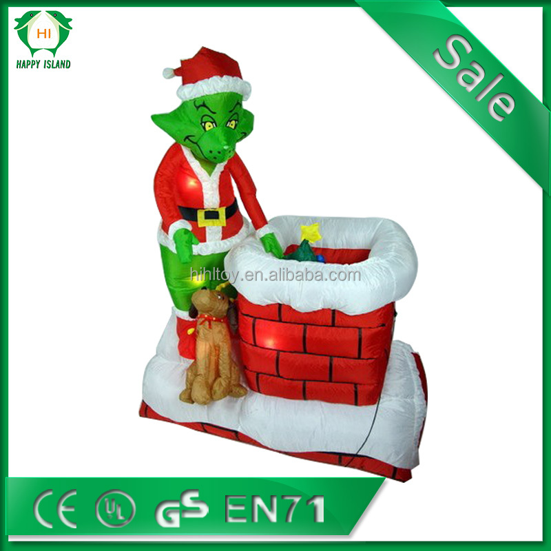 The grinch 6 ft animated airblown christmas house funny for Funny christmas decorations