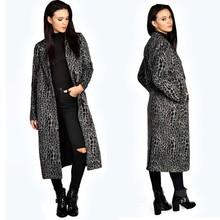 women garment wholesale leopard print maxi faux fur beaver coat
