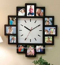 photo frame, wooden frame with clock