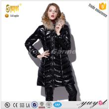 Korea style shiny black artificial fur down jacket
