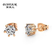Top quality zircon inlay 18K rose gold earring with wholesale price simple gold earring designs for women