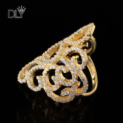 Cool Clear CZ Cutout Flower 925 gold plated silver ring Knuckle Ring