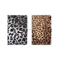 wallet leather flip case for ipad mini 4 with leopard pattern