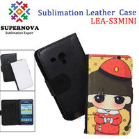 Customize wallet leather case for samsung galaxy s3 mini