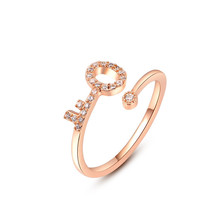 New Arrival Key Shape Engagement Ring Rose Gold Plated AAA Switzerland Cubic Zircon Rings Fashion Jewelry