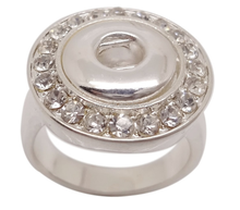 New Fashion Stainless steel crystal diamond top Snap button ring jewelry