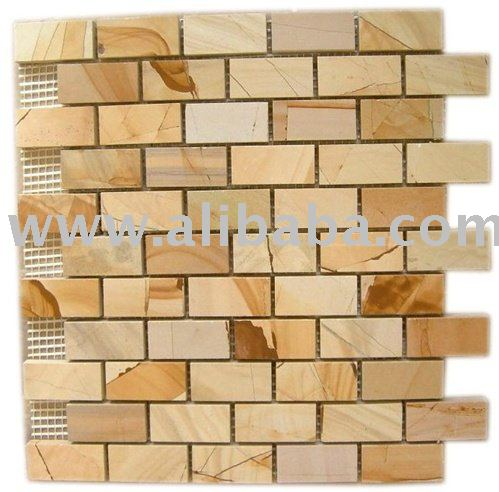 yellow gold beige marble brick pattern polished mosaic tile kitchen