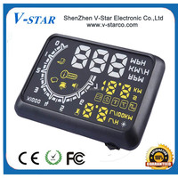 5 inch screen size monitor tpms sensor HUD overspeed warning system tyre pressure car head up display