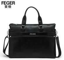 Wholesale Genuine Leather Black Men Handbag Cow Leather Business Bag