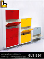 Furniture 2 rows Colorful wooden shoe cabinet 4 tiers for bedroom
