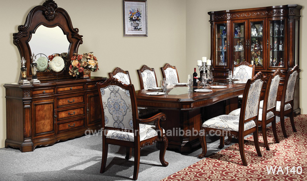Solid wood dining room furniture antique hand carved for Real wood dining room sets