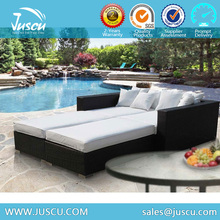 High Quality Rattan/ Wicker sun lounge Double Rattan Sun Lounge with Backrest