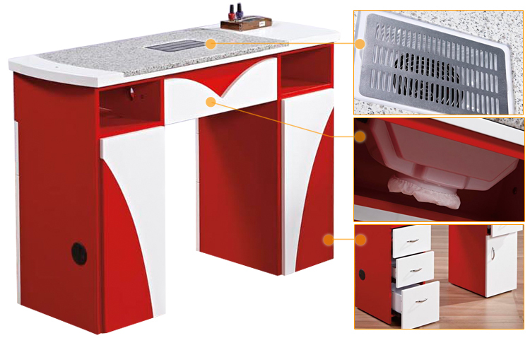 Hot sale nail table dust collector manicure table nail bar for Nail salon table