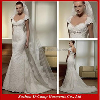WD-0440 Luxury design off the shoulder lace ivory wedding dresses with cap sleeves