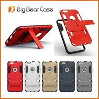 Hybrid tpu pc rugged rubber combo slim armor case for iphone 6 plus case with stand