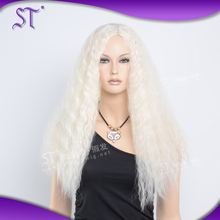 Hot-selling fashion style long kinky curly white wigs for women