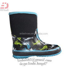 WOMEN leather blue hiking / RAIN boots,