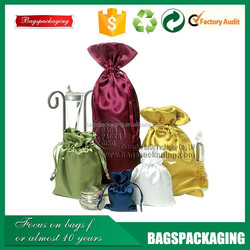 high density fabric small satin drawstring bags for gifts