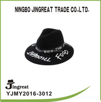Fedora Hat Wide Brim Wool Felt Hat Wholesale Fashion Men's Stylish 100% Wool Felt Wide Brim Fedora Printed Band Black Hat