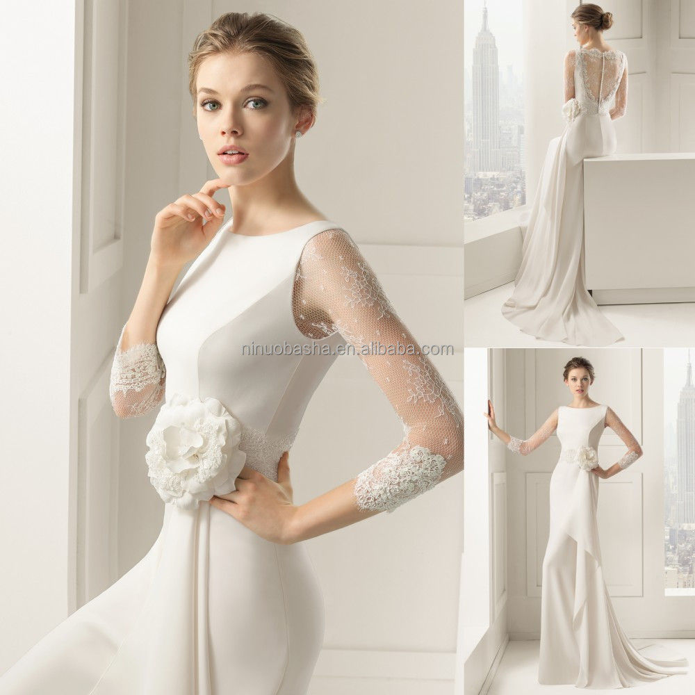 Wholesale 2015 new collection sheath wedding dress jewel Lace button back wedding dress