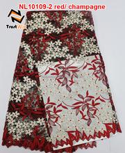 Tulle lace tecido projeto do laço bordado para vestido da menina flor de NL10109-2