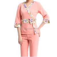 Cheap and comfortable spa uniform pink spa uniform for women