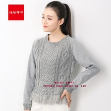 FASHION LATEST NEW STYLES WOMEN KNITTED TASSELS PULLOVER SWEATER