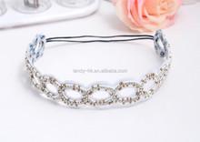 Cheap pretty handmade rhinestone crystal Girls Headband Flower White
